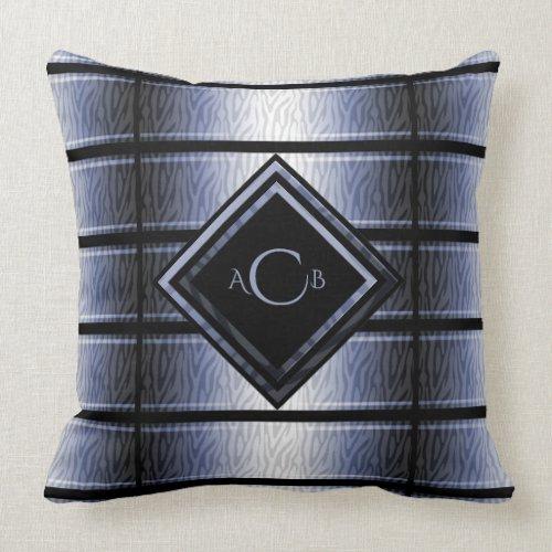 Blue and Black Zebra Monogram Pillow