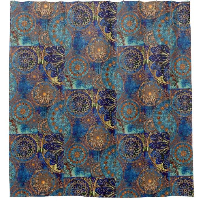 blue and gold celestial shower curtain zazzle com