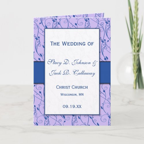 Blue and Lilac Wedding Program