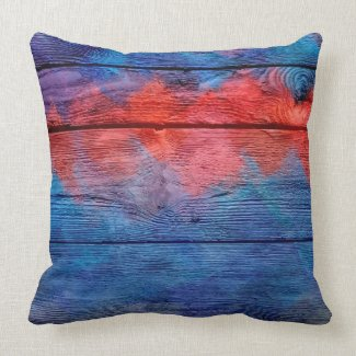 Blue and Red Wood Vintage Throw Pillows