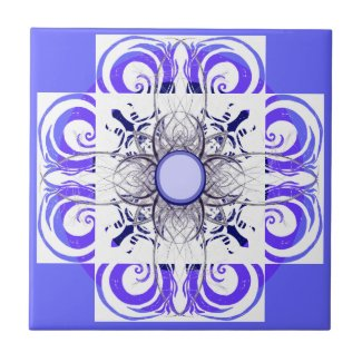 Blue and White Pattern Tiles zazzle_tile