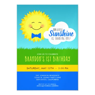 Blue and Yellow Sunshine Birthday Party Magnetic Invitation