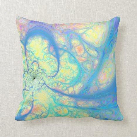 Blue Angel – Cosmic Azure & Lemon Throw Pillow