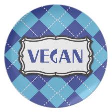 Blue Argyle Vegan Pride plate
