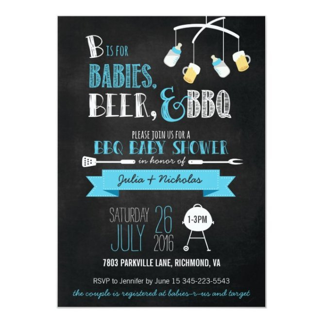 Beer Bbq Baby Shower Invitation