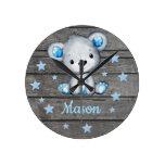 Blue Bear Rustic wooden Acrylic Wall Clock, Round Round Clock