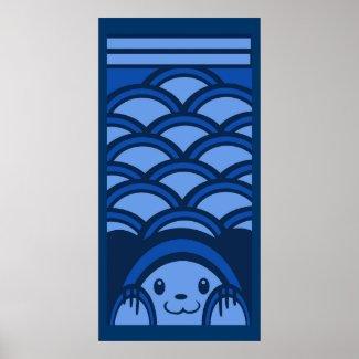Blue Bear Verticle Poster print