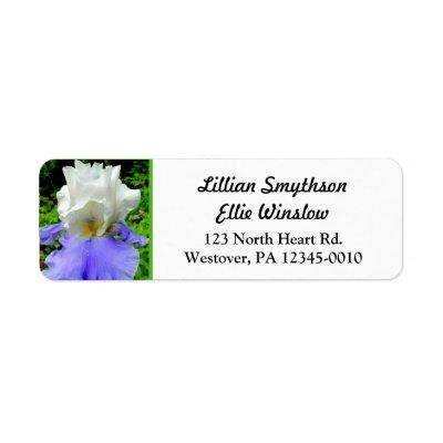Blue Bearded Iris Custom Skinny Address Labels