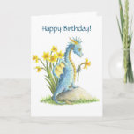 ❤️ Sweet Blue Dragon & Daffodils Spring Birthday Card