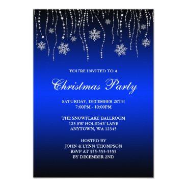 Blue Black Sparkle Snowflakes Christmas Party Card