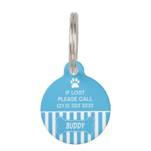 Blue Bone Dog ID Tag Pet Nametag