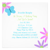 Blue Butterfly and Flower Party Invitations