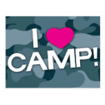 Blue Camo I LOVE CAMP! Postcard