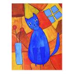 Blue Cat Postcard