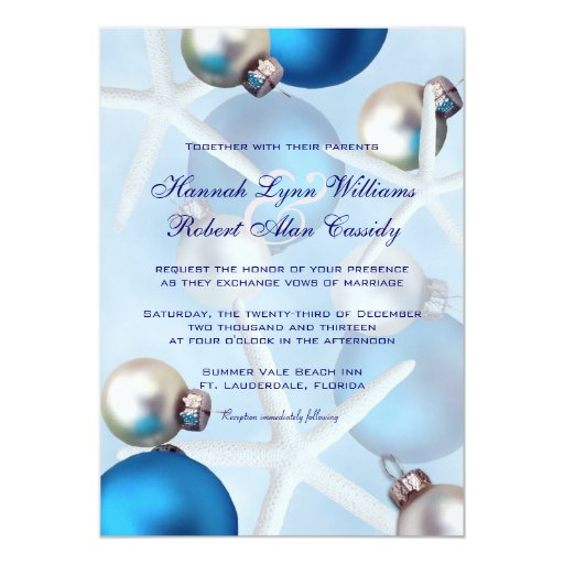 Blue Christmas Starfish Tropical Wedding Invite Zazzle