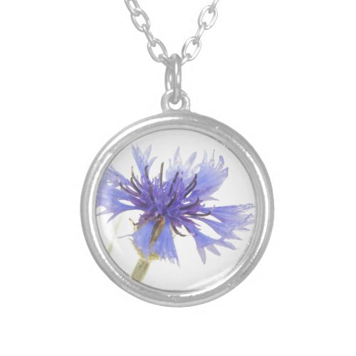 Blue Cornflower Photo - Silver Plated Necklace
