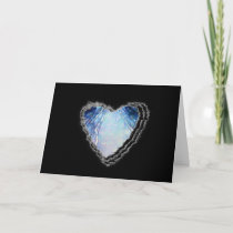 Blue Crystal Abstract Heart Romance Valentine Love cards