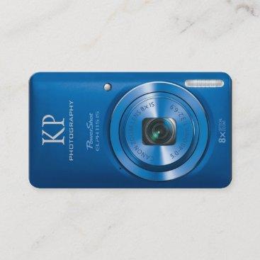 Blue Custom Compact Digital Camera Photographer Business Card