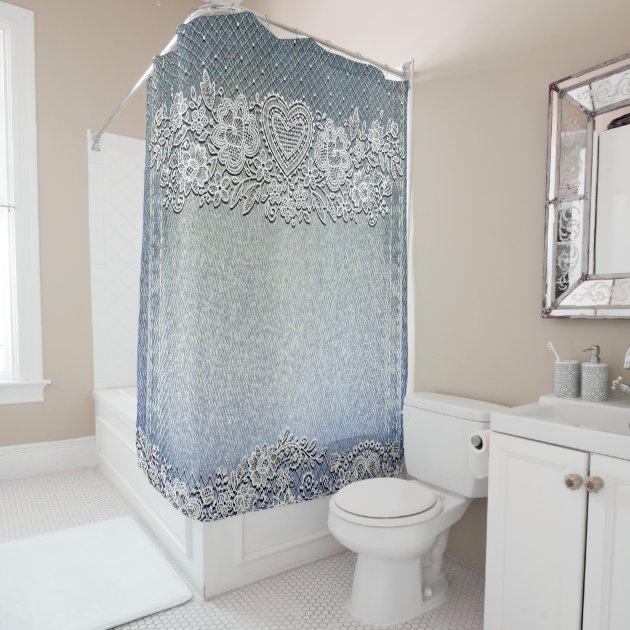 blue denim jean white heart lace shower curtain zazzle com
