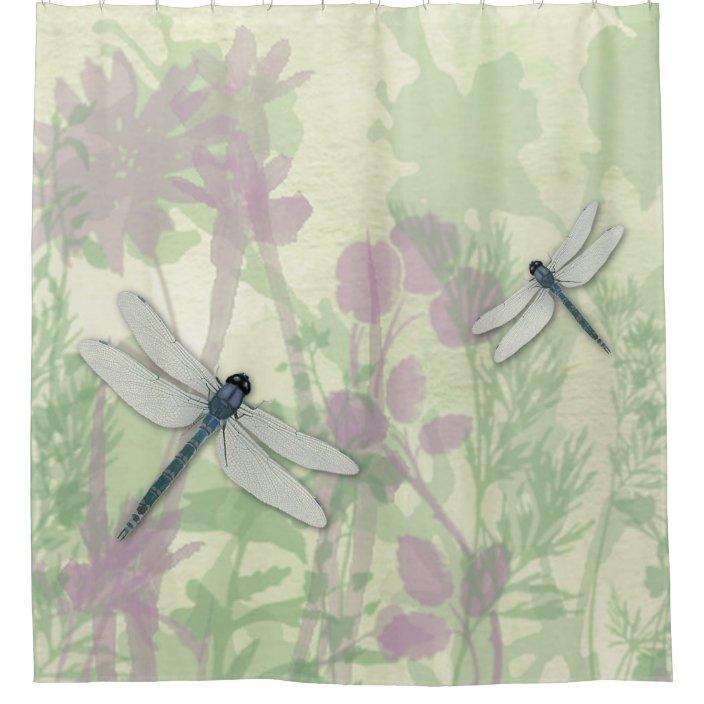 blue dragonflies shower curtain zazzle com