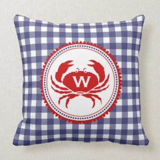 Blue Gingham & Crab Monogram Pillow