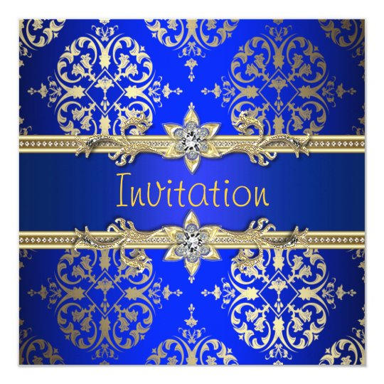 Blue Gold Damask Royal Party Card
