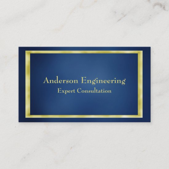Blue Gold Frame Professional Business Card