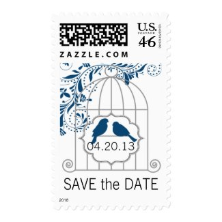 Blue Gray Birdcage Wedding Save The Date Postage Stamps
