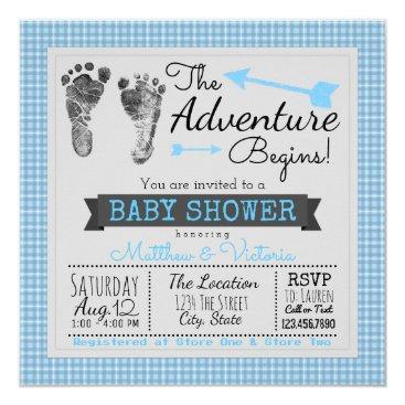 Blue Gray The Adventure Begins Boy Baby Shower Invitation