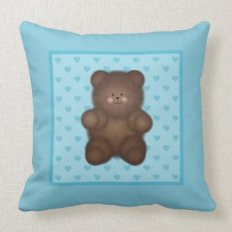 Blue Hearts and Teddy Bear Throw Pillow