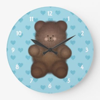 Blue Hearts: Teddy Bear Wall Clock On Blue