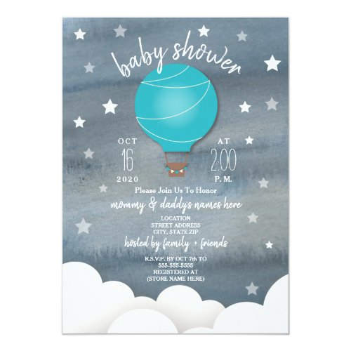 Blue Hot Air Balloon + Stars Boy Baby Shower Card