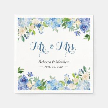Blue Hydrangea Watercolor Floral Mr & Mrs Wedding Paper Napkin