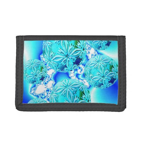 Blue Ice Crystals Abstract Aqua Azure Cyan Pattern Trifold Wallet
