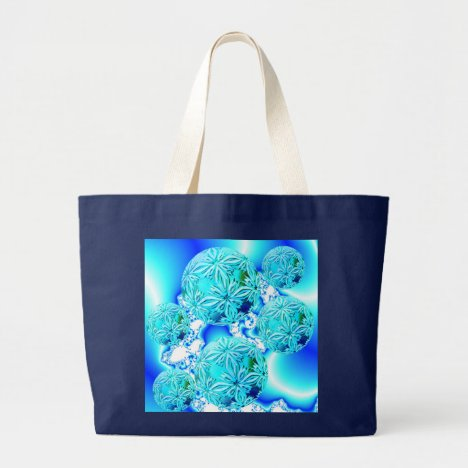 Blue Ice Crystals, Abstract Aqua Azure Cyan Spiral Large Tote Bag