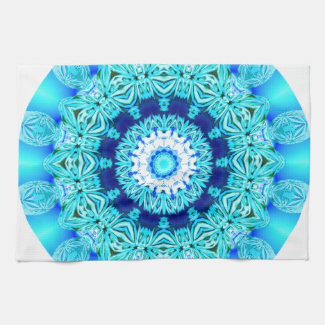 Blue Ice Lace Mandala, Abstract Aqua Hand Towel