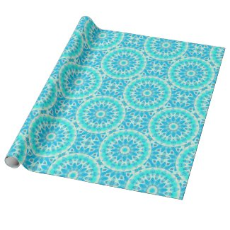 Blue Ice Star, Abstract Aqua Turquoise Mandala Gift Wrapping Paper