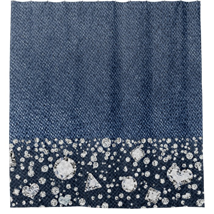 blue jean denim diamonds glam trendy diamond bling shower curtain zazzle com