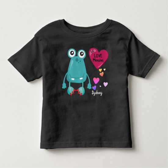 Blue Lil Love Monster with Hearts | Valentine's Toddler T-shirt