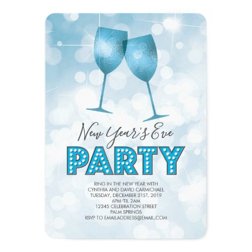 Blue Marquee Lights New Years Eve Party Invitation