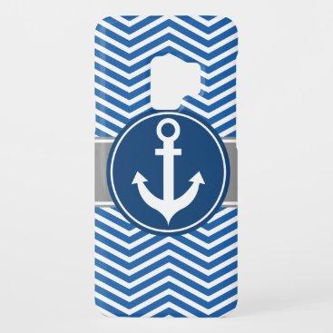 Blue Nautical Anchor Chevron Case-Mate Samsung Galaxy S9 Case