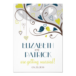 Blue & Olive | Cute Lovebirds Wedding Invitation
