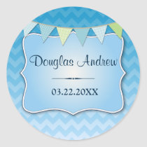 Blue Ombre Chevron Baby Name Round Stickers