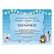 Blue Ombre Chevron Baby Sip and See Invitation