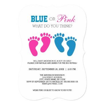 Blue or Pink Foot Prints Gender Reveal Party Card