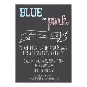 Blue or Pink Gender Reveal Baby Shower Invitation