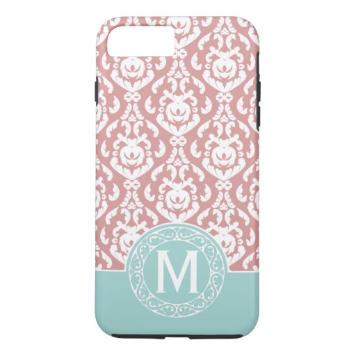 Blue Pink Damask Monogram iPhone 7 Plus Case