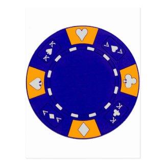 Blue Poker Chip Post Card