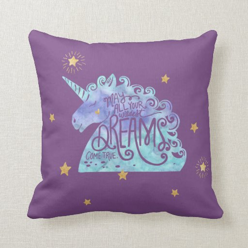 Blue Purple Watercolor Unicorn Throw Pillow