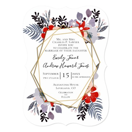 Blue Red Pink Lavender Purple Floral Wedding Invitation